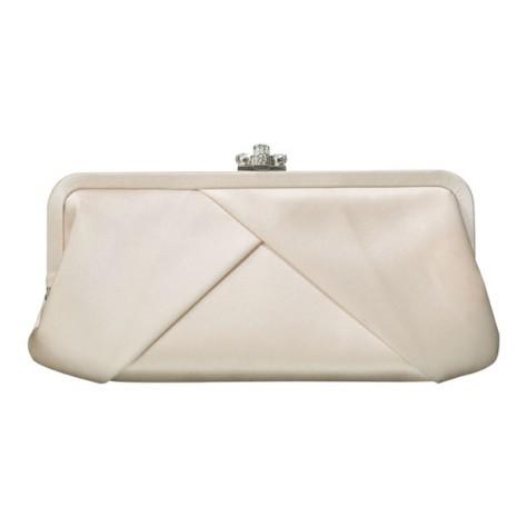 Franchi Cream Satin Clutch Bag