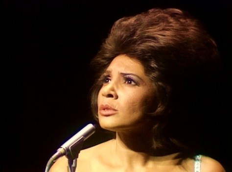 Still from the 1971 Royal Variety Performance Dame Shirley singing 'Yesterday when I was young'.