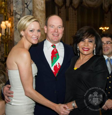 Dame Shirley Bassey  with Prince Albert & Princess Charlene at the St. David's Day charity event
