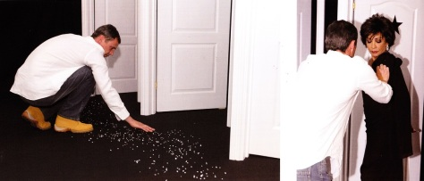 Terry Morris scatters diamonds loaned by jeweller Asprey onto the floor of his makeshift Chelsea Harbour studio