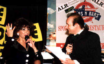 Being interviewed at the Stars 'n' Bars Club in Monte Carlo 1998