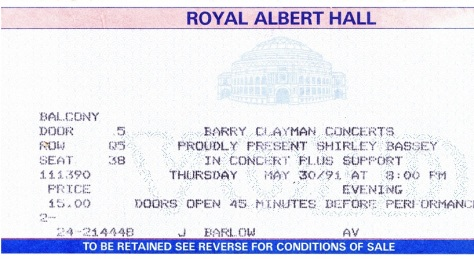 1991 F Concert ticket Royal Albert Hall
