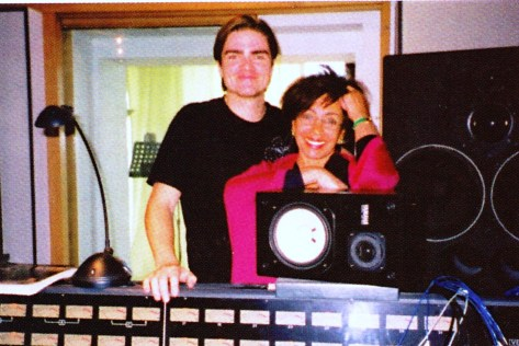 Dame Shirley Bassey in the recording studio in Spain for the vocal recordings on the 'La Mujer' album