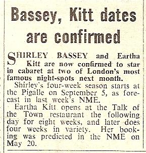 1960 AC NMEBassey12thAug Eartha Kitt