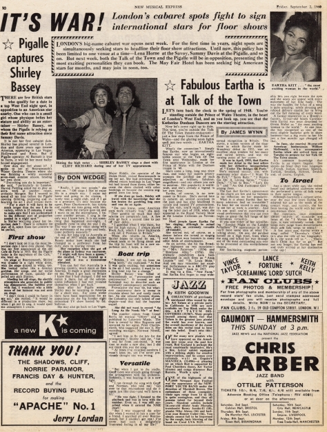 1960 N NMEBassey2ndSept2 Eartha Kitt Cliff Richard