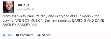Dario G Post On Facebook- We Got Music on Paul O Grady