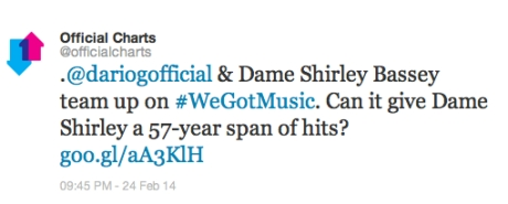 @dariogofficial & Dame Shirley Bassey team up on #WeGotMusic. Can it give Dame Shirley a 57-year span of hits