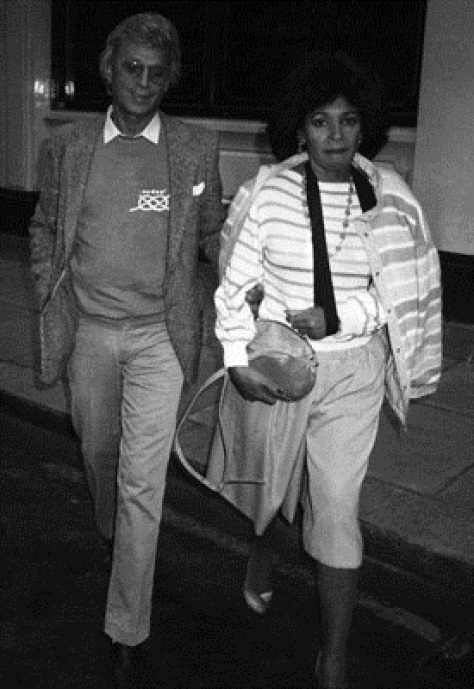 London circa 1980's. Shirley Bassey and manager Beaudoin Mills in Mayfair