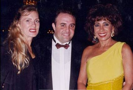 A photo of Shirley Basssey and Sherin Yousri and Yasmin Vetter in Monte Carlo at a charity gala, one year before the concert at the pyramids.