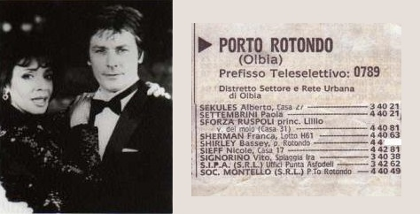 Did Alain Delon find Shirley's phone number in the Italian phone book?