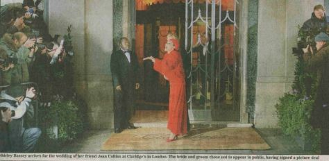 Dame Shirey arrives at the wedding of Joan Collins and Percy Gibson at the Claridge Hotel in London in 2002