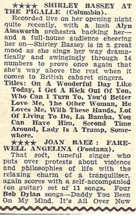 1965 CD NMEBassey26thNov