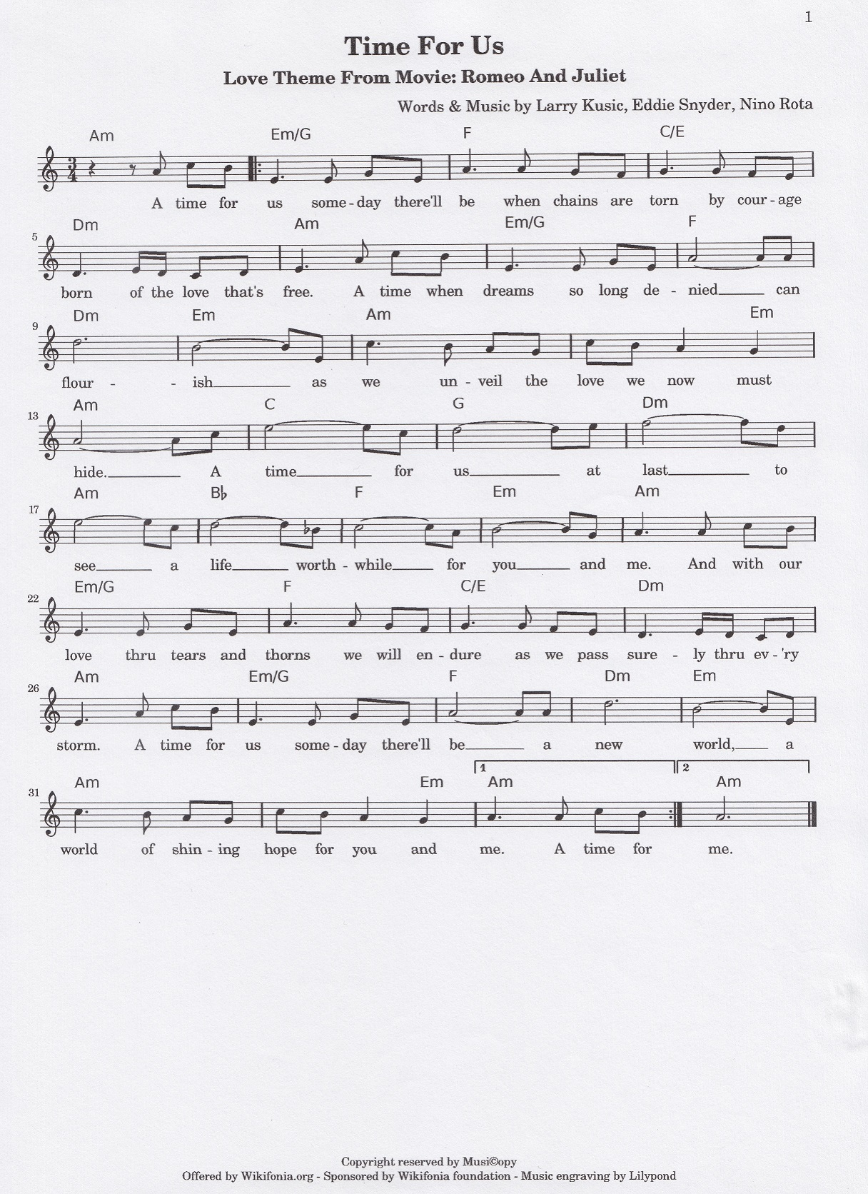 Sheet Music 1968 A Time For Us